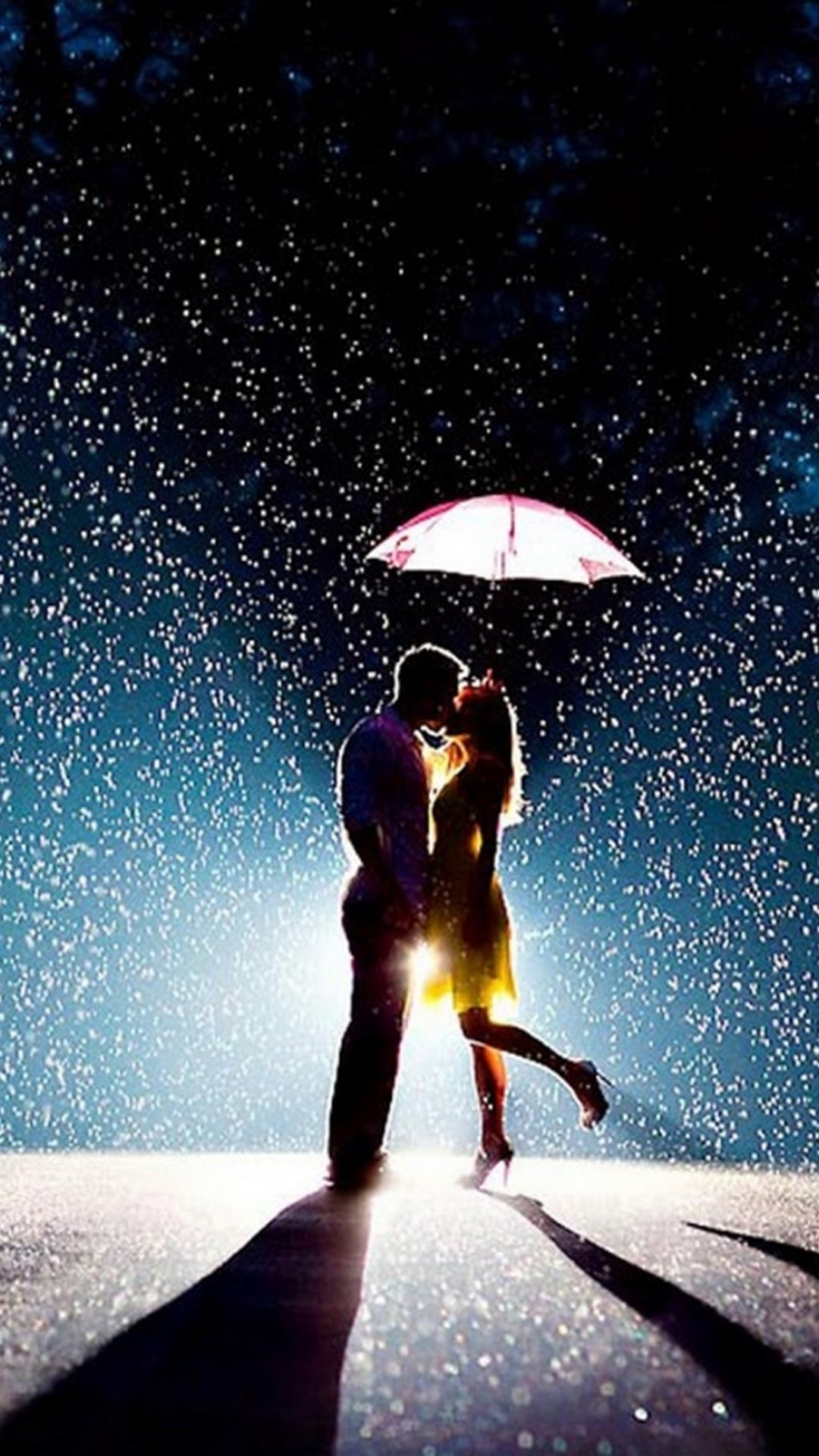 Romantic Love Couple in Rain iPhone wallpaper resolution 1080x1920